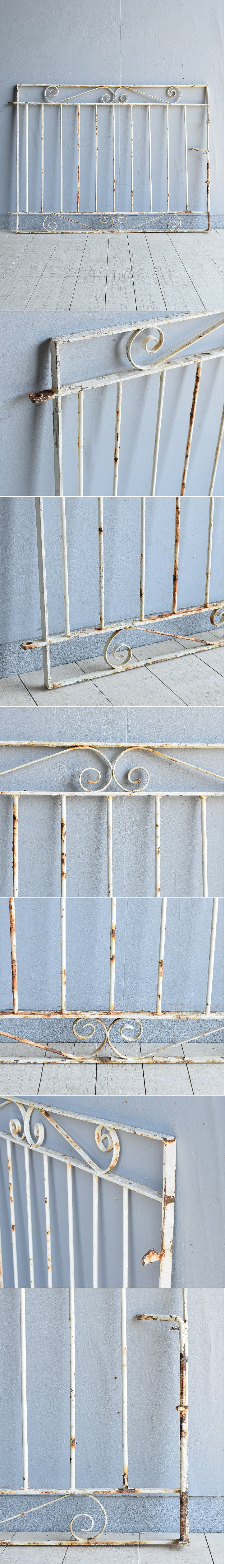 イギリス アンティーク アイアンフェンス ゲート柵 ガーデニング 7965