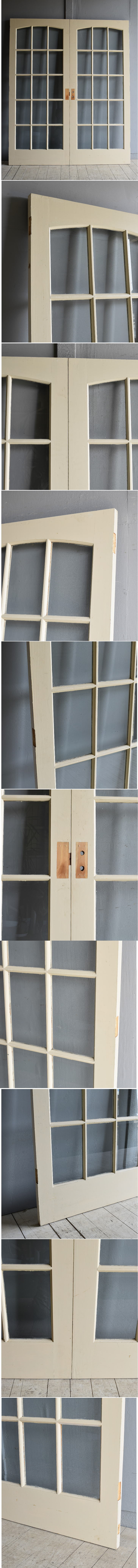 イギリス アンティーク ガラス ドアペア 扉 ディスプレイ 建具 7986