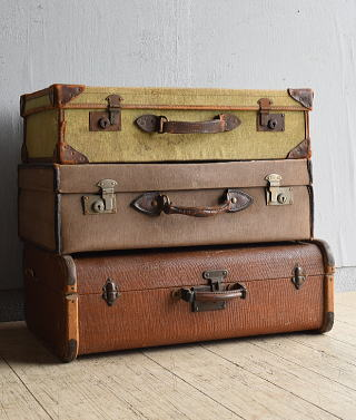 イギリス アンティーク スーツケース×3 トランク ディスプレイ 旅行鞄 8041