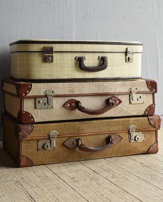 イギリス アンティーク スーツケース×3 トランク ディスプレイ 旅行鞄 8043