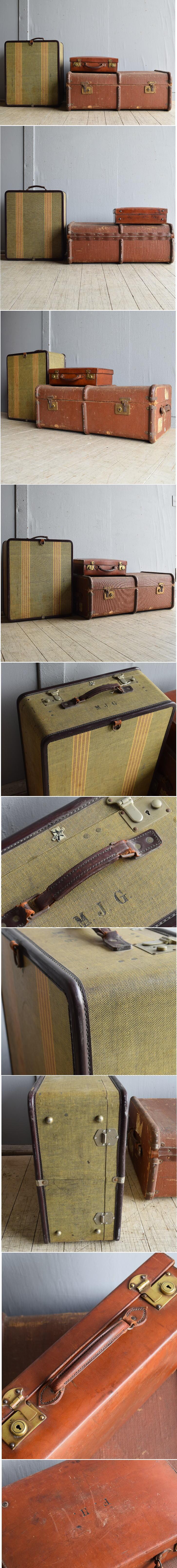 イギリス アンティーク スーツケース×3 トランク ディスプレイ 旅行鞄 8044