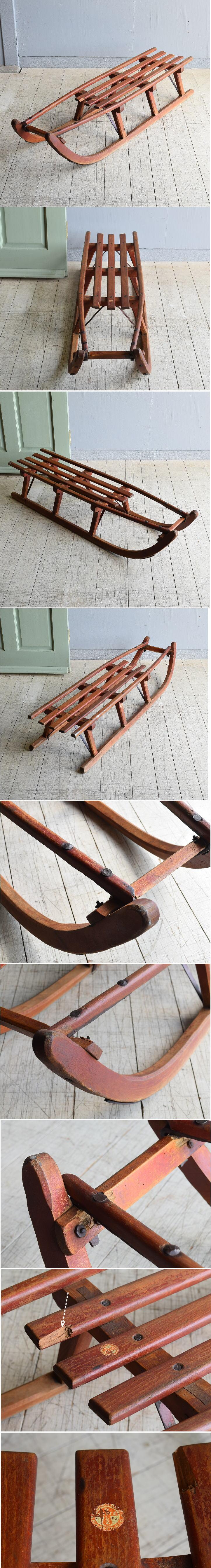 (旧)東ドイツ製 アンティーク 木製ソリ 8047