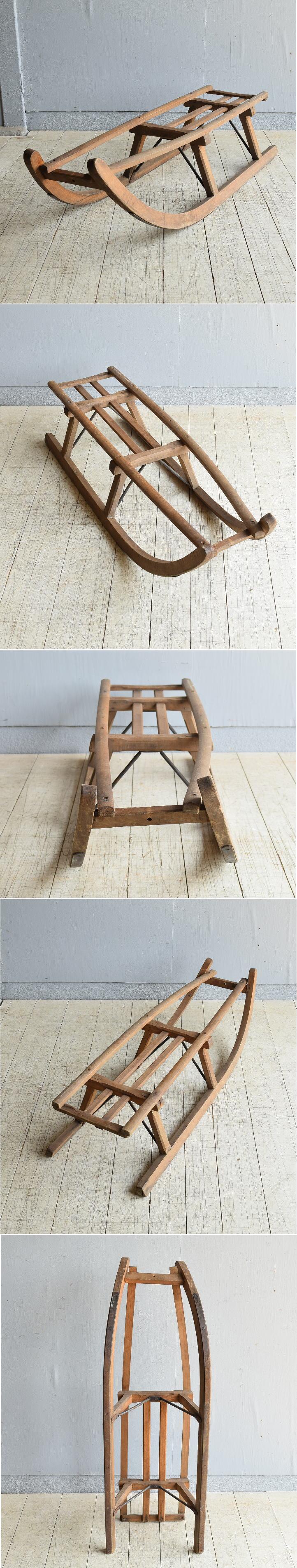 (旧)東ドイツ製 アンティーク 木製ソリ 8052