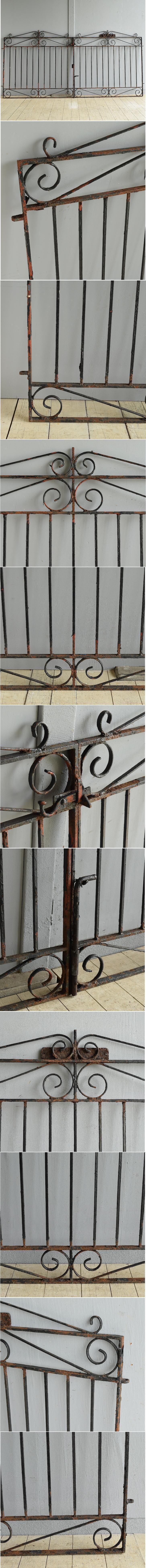 イギリス アンティーク アイアンフェンス ゲート柵 8059