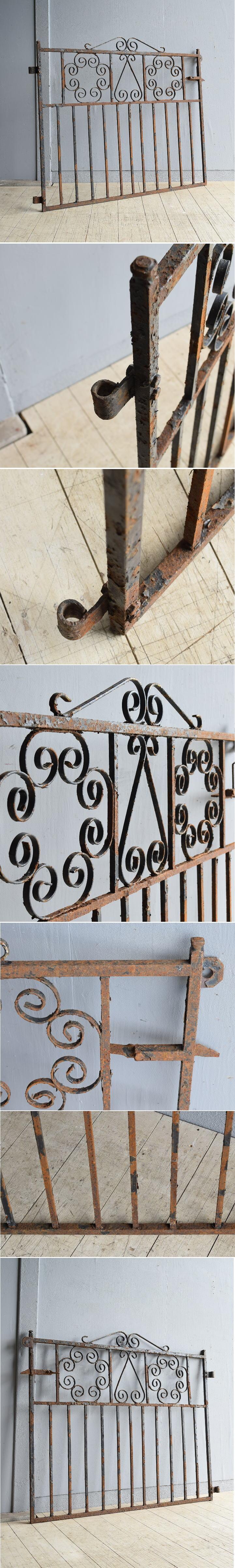 イギリス アンティーク アイアンフェンス ゲート柵 8060