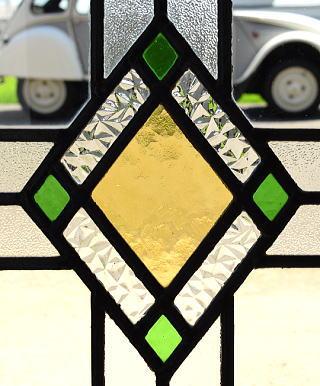 イギリス アンティーク ステンドグラス 幾何学 8111