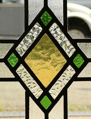 イギリス アンティーク ステンドグラス 幾何学 8113