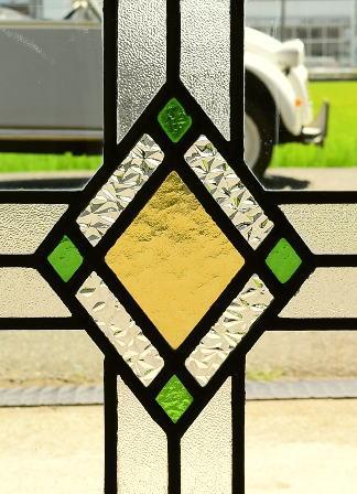 イギリス アンティーク ステンドグラス 幾何学 8114