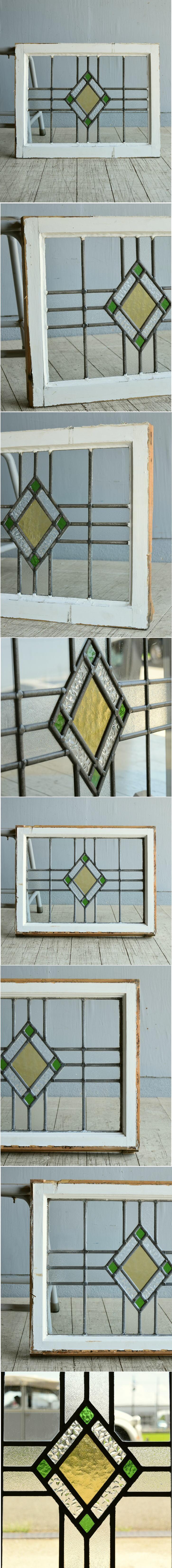 イギリス アンティーク ステンドグラス 幾何学 8115