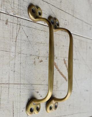 イギリス アンティーク 真鍮ハンドル×2  建具金物 取っ手  8211