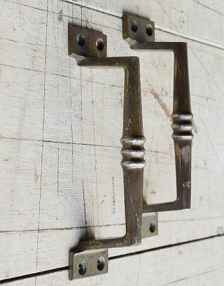 イギリス アンティーク 真鍮ハンドル×2 建具金物 取っ手  8212