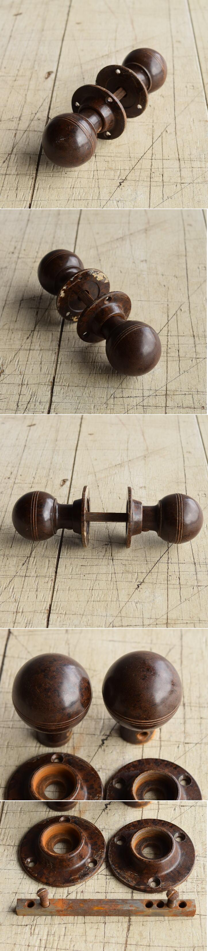 イギリス アンティーク ベイクライト製 ドアノブ 建具金物 握り玉 8217