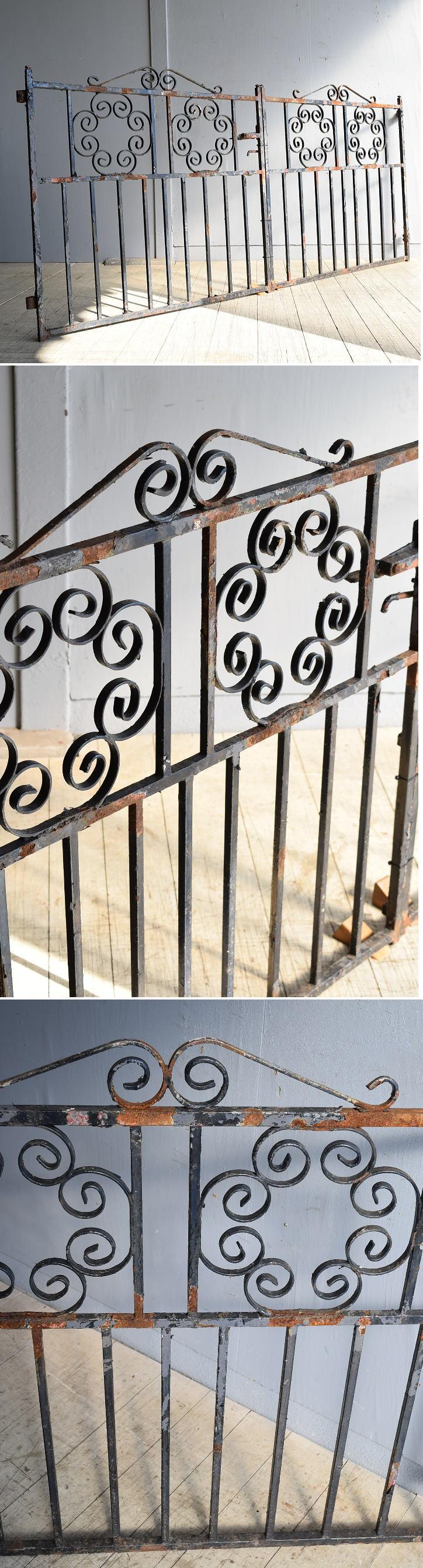 イギリス アンティーク アイアンフェンス ゲート柵 8249