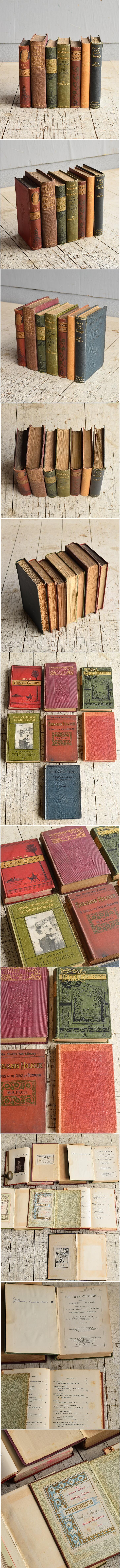 イギリス アンティーク ブック 本 洋書 7冊セット ディスプレイ 8270