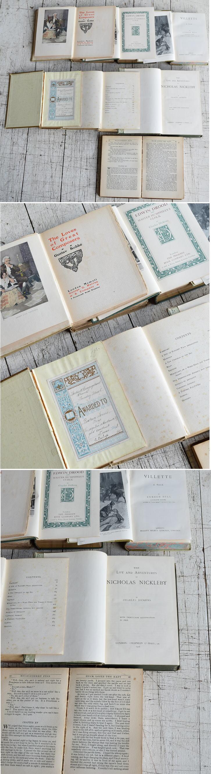 イギリス アンティーク ブック 本 洋書 7冊セット ディスプレイ 8275