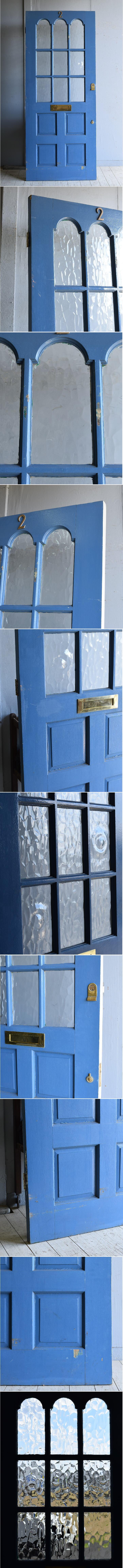 イギリス アンティーク ガラス入り木製ドア 扉 建具 8292