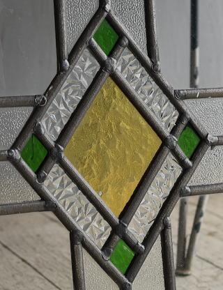 イギリス アンティーク ステンドグラス 幾何学 8533