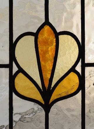 イギリス アンティーク ステンドグラス 幾何学 8541