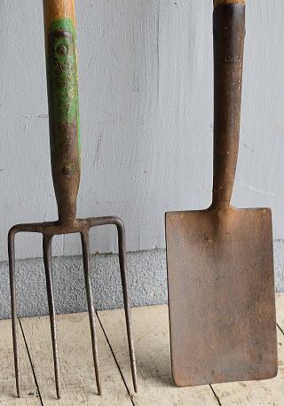 イギリスアンティーク ガーデンフォーク&スコップ 農機具 8572