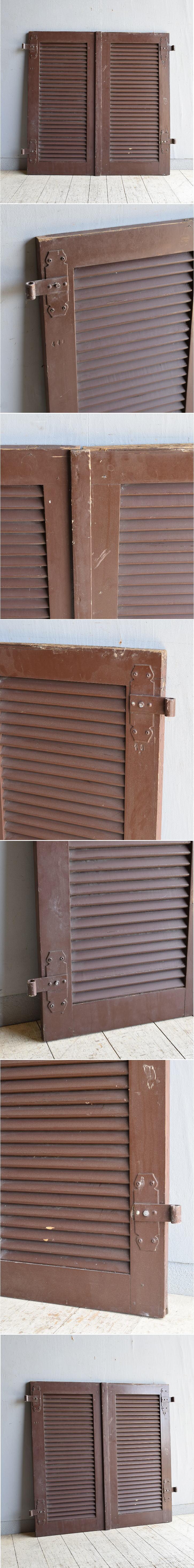 ドイツ製 アンティーク 木製ルーバー雨戸×2  ディスプレイ 建具 8614