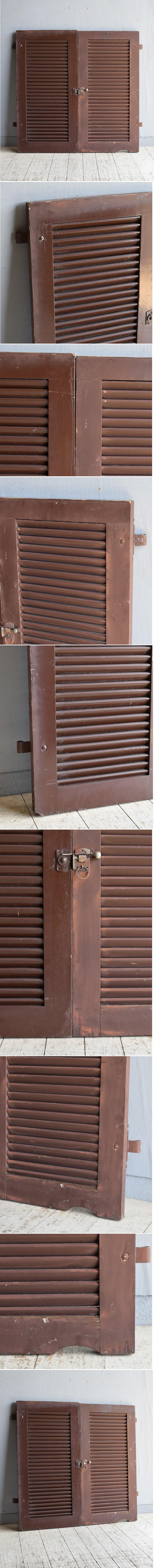 ドイツ製 アンティーク 木製ルーバー雨戸×2  ディスプレイ 建具 8615
