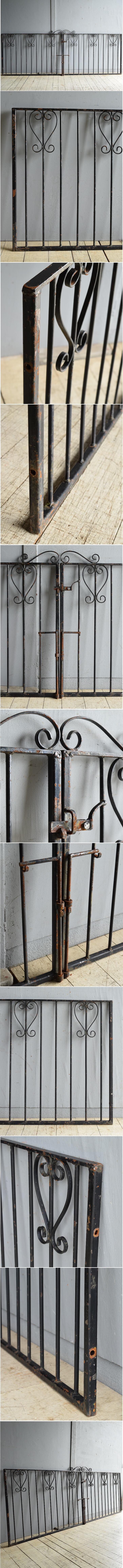 イギリスアンティーク アイアンフェンス ゲート柵 ガーデニング 8631
