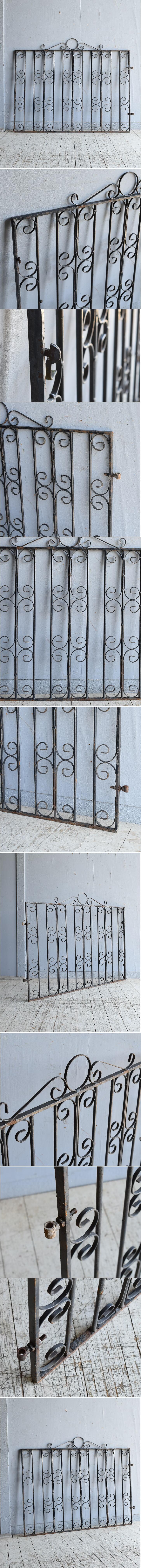 イギリスアンティーク アイアンフェンス ゲート柵 ガーデニング 8643