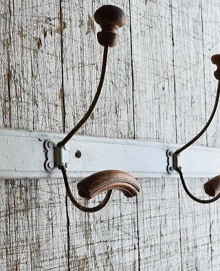 フレンチ  アンティーク 壁掛けコートフック 3連 8686