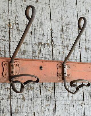 フレンチ  アンティーク 壁掛けコートフック 3連 8687