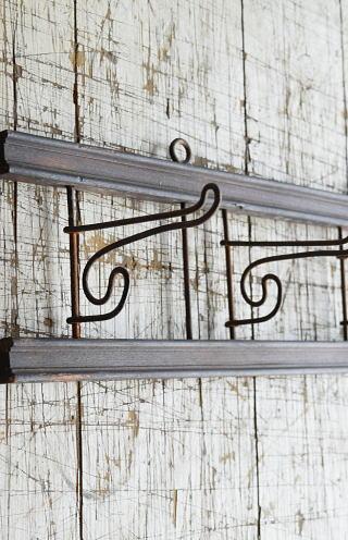 イギリス  アンティーク 壁掛けコートフック 4連 8688