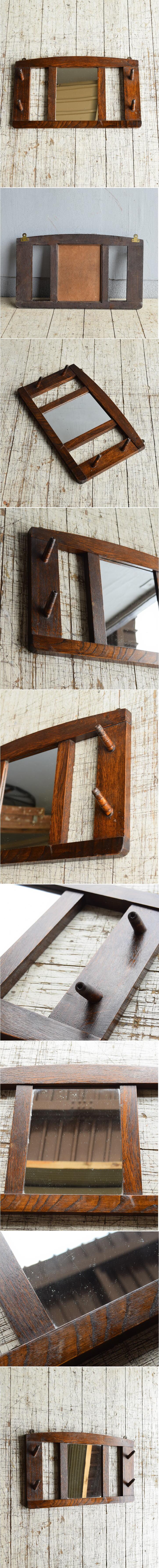 イギリス アンティーク 壁掛けフック&ミラー 鏡  8694