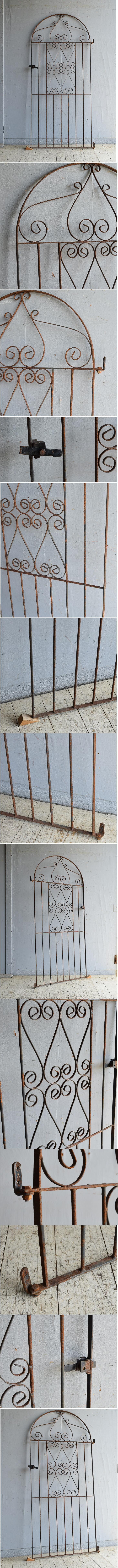 イギリスアンティーク アイアンフェンス ゲート柵 ガーデニング 8758