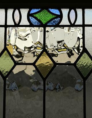 イギリス アンティーク ステンドグラス 幾何学 8773