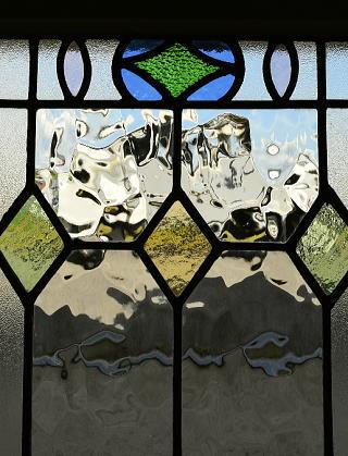イギリス アンティーク ステンドグラス 幾何学 8774