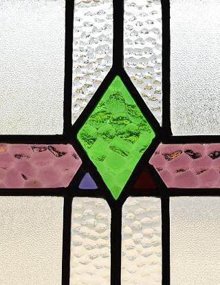 イギリス アンティーク ステンドグラス 幾何学 8778