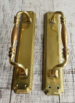 イギリス アンティーク 真鍮ハンドル 建具金物 取っ手×2 8801