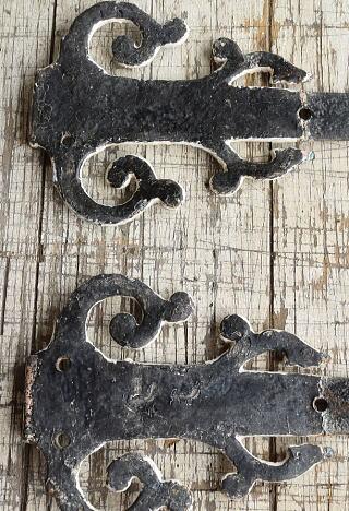 イギリス アンティーク 鉄製装飾×2 建具金物 8811