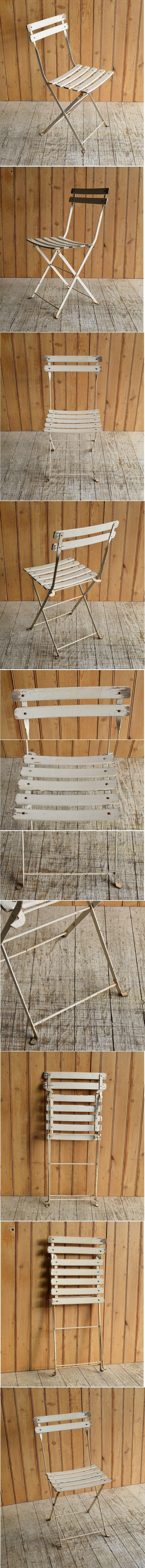 フレンチ アンティーク フォールディング ガーデンチェア 椅子 8931