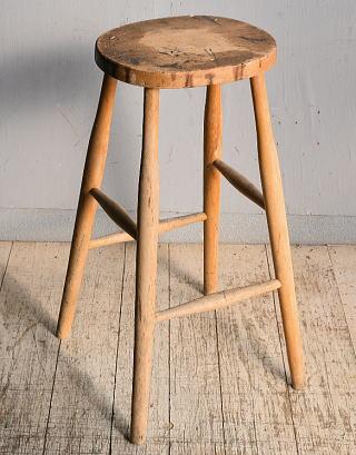 イギリス アンティーク家具 木製 ハイスツール  椅子 8995