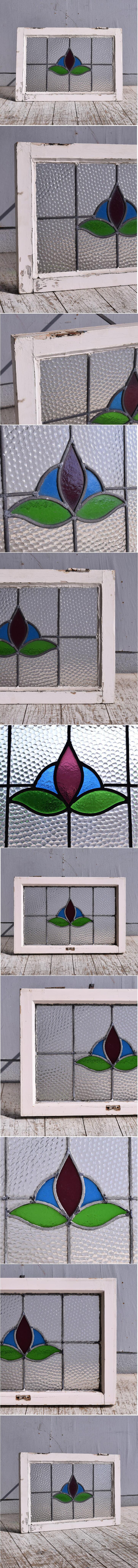 イギリス アンティーク ステンドグラス 幾何学 9381
