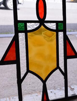 イギリス アンティーク ステンドグラス 幾何学 9435