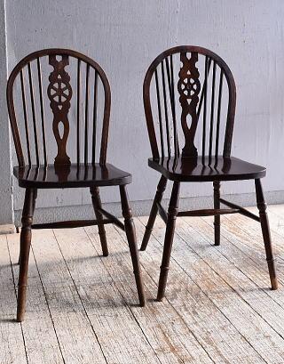 イギリス アンティーク家具 キッチンチェア 椅子×2  9480