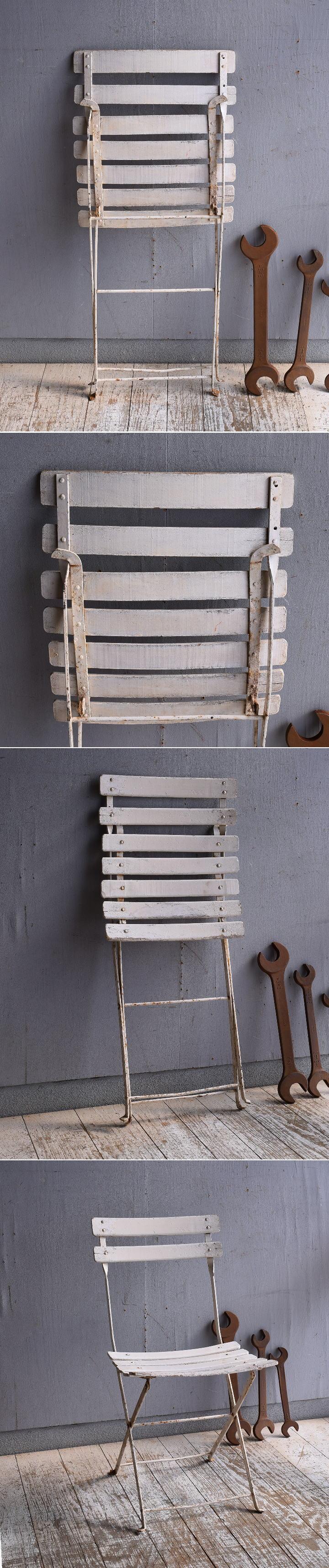 フレンチ アンティーク フォールディング ガーデンチェア 椅子 9485