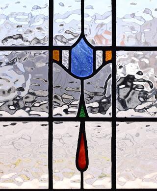 イギリス アンティーク ステンドグラス 幾何学 9550