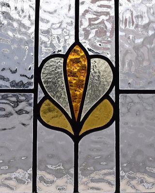 イギリス アンティーク ステンドグラス 幾何学 9559