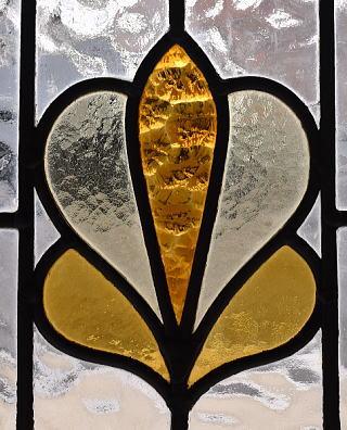イギリス アンティーク ステンドグラス 幾何学 9598