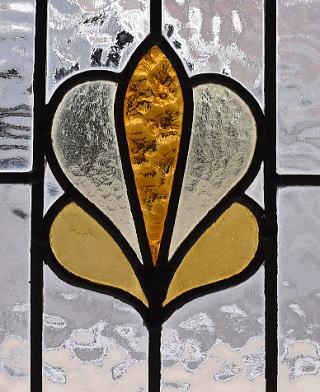 イギリス アンティーク ステンドグラス 幾何学 9599