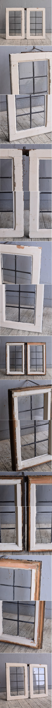 イギリス アンティーク 窓×2 無色透明 9754