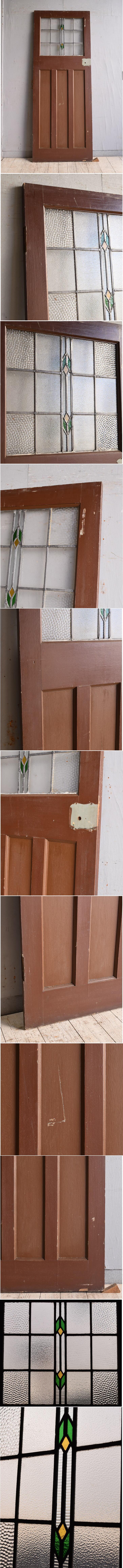 イギリス アンティーク ステンドグラス入り木製ドア 扉 建具 9782