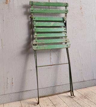フレンチ アンティーク フォールディング ガーデンチェア 椅子 9804